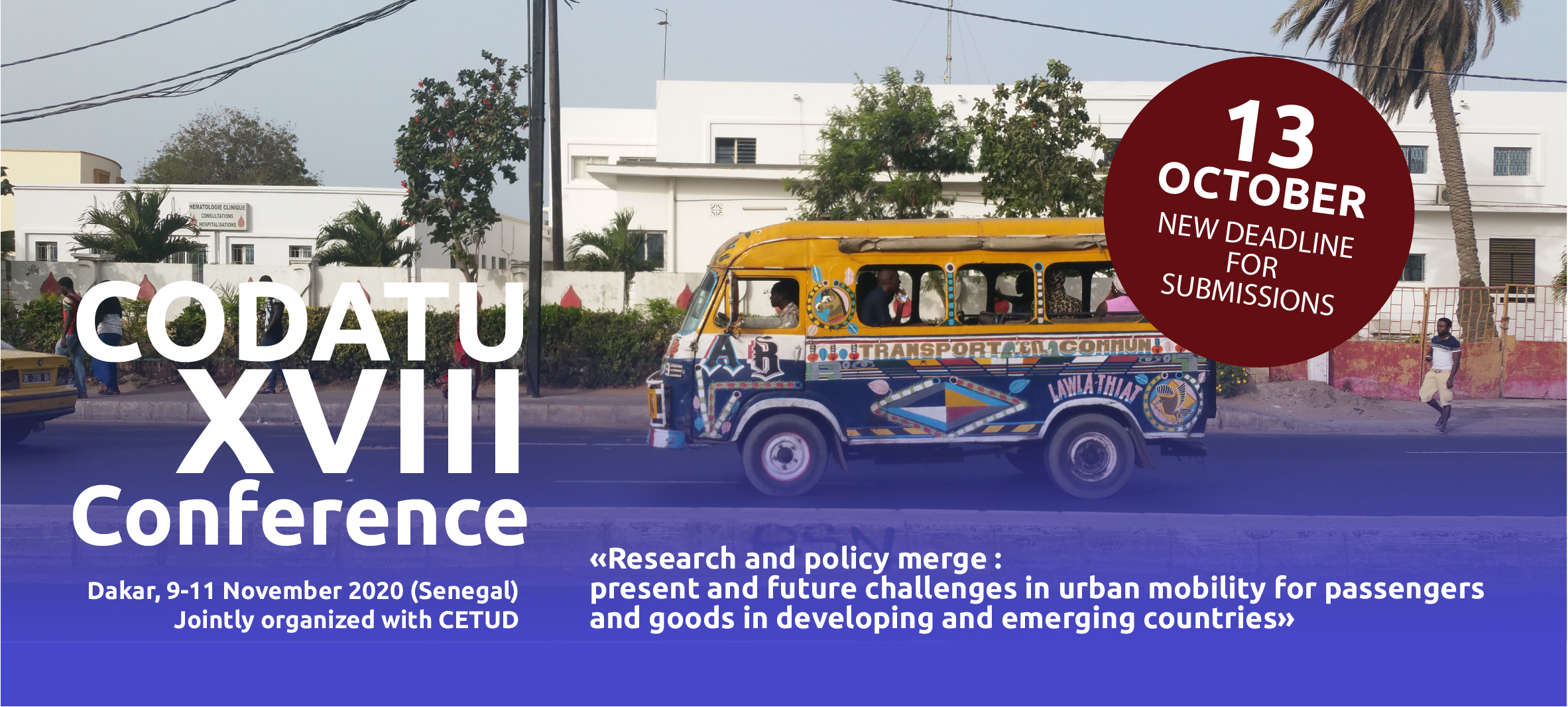 CODATU XVIII Conference: CALL FOR ABSTRACTS – DEADLINE EXTENSION FOR SUBMISSIONS