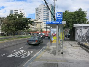 Bus stop in the city centre of Quito