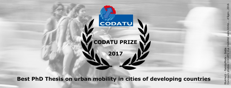 """1st edition of """"CODATU Prize of the best PhD Thesis on urban mobility in cities of developing countries"""""""