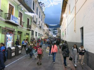 Pedestrian street in the historical centre of Quito